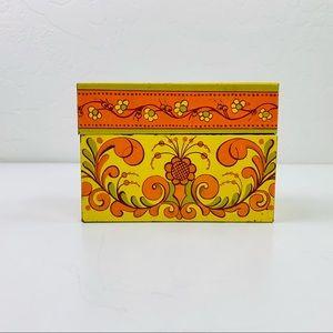 VTG Floral AVON Recipe Tin Box